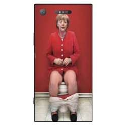 Durable Angela Merkel On The Toilet Cover For Sony Xperia XZ1