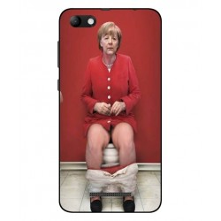 Durable Angela Merkel On The Toilet Cover For Wiko Jerry Max