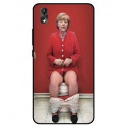 Durable Angela Merkel On The Toilet Cover For Wiko Lenny 4 Plus
