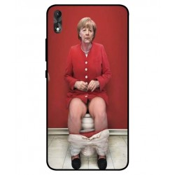Durable Angela Merkel On The Toilet Cover For Wiko Robby 2