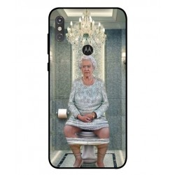 Durable Queen Elizabeth On The Toilet Cover For Motorola One Power P30 Note