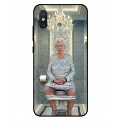 Durable Queen Elizabeth On The Toilet Cover For Xiaomi Mi 8 Pro