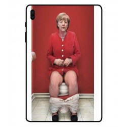 Durable Angela Merkel On The Toilet Cover For Samsung Galaxy Tab S6