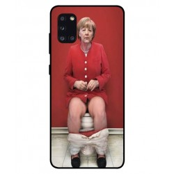 Durable Angela Merkel On The Toilet Cover For Samsung Galaxy A31