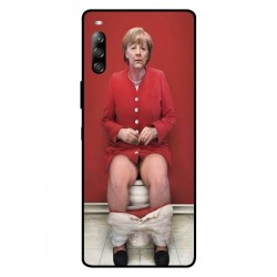 Durable Angela Merkel On The Toilet Cover For Sony Xperia 10 II