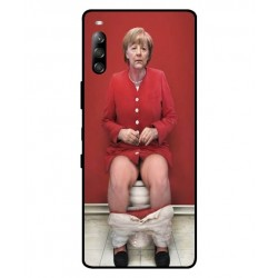 Durable Angela Merkel On The Toilet Cover For Sony Xperia L4