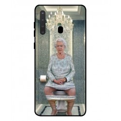 Durable Queen Elizabeth On The Toilet Cover For Samsung Galaxy A21