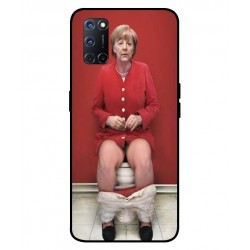 Durable Angela Merkel On The Toilet Cover For Oppo A52