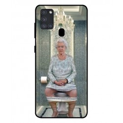 Durable Queen Elizabeth On The Toilet Cover For Samsung Galaxy A21s
