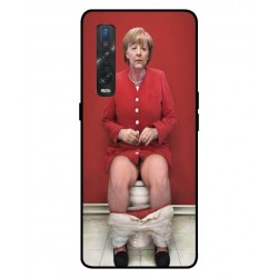 Durable Angela Merkel On The Toilet Cover For Oppo Find X2 Pro