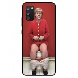 Durable Angela Merkel On The Toilet Cover For Samsung Galaxy A02s