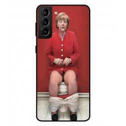 Durable Angela Merkel On The Toilet Cover For Samsung Galaxy S21