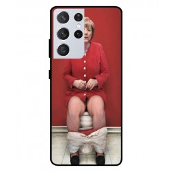 Durable Angela Merkel On The Toilet Cover For Samsung Galaxy S21 Ultra
