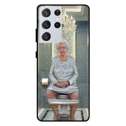Durable Queen Elizabeth On The Toilet Cover For Samsung Galaxy S21 Ultra
